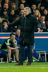 Chelsea Manager Jose Mourinho looks frustrated - Photo mandatory by-line: Rogan Thomson/JMP - 07966 386802 - 17/02/2015 - SPORT - FOOTBALL - Paris, France - Parc des Princes - Paris Saint-Germain v Chelsea - UEFA Champions League, Last 16, First Leg.