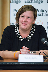 © Licensed to London News Pictures . 29/09/2014 . Birmingham , UK . Deirdre Kelly ( aka White Dee ) speaks at a Police Exchange fringe meeting on benefits . The 2014 Conservative Party Conference at the International Convention Centre in Birmingham . Photo credit : Joel Goodman/LNP