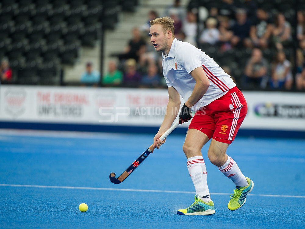 England's David Ames. England v The Netherlands - Semi Final - Hockey World League Semi Final, Lee Valley Hockey and Tennis Centre, London, United Kingdom on 24 June 2017. Photo: Simon Parker