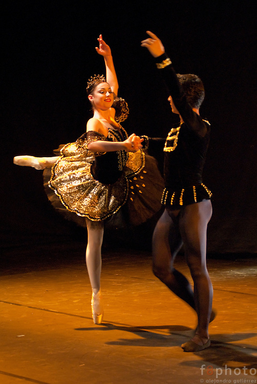 "The dancers from the Cuban Classical Ballet of Miami, Kate Kadow and Ignacio Rivera during the Ballet Gala ""Reflejos"" performing ""Satanella"" in the Second International Dance Festival Ibérica Contemporánea, Querétaro, México,2009."