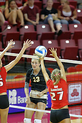25 AUG 2007: Ali Shulz strikes the ball towards Katie Seyller. Illinois State defeated Valparaiso in 3 straight games to take the match with a shut out. The Valparaiso Crusaders visited the Illinois State Redbirds on Doug Collins Court in Redbird Arena on the campus of Illinois State University in Normal Illinois.
