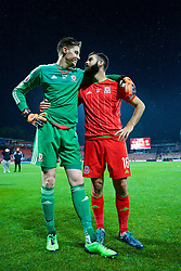 ZENICA, BOSNIA & HERZEGOVINA - Saturday, October 10, 2015: Wales' goalkeeper Wayne Hennessey and Joe Ledley celebrate qualifying for the Euro 2016 finals despite a 2-0 defeat to Bosnia and Herzegovina during the UEFA Euro 2016 qualifying match at Stadion Bilino Polje. (Pic by David Rawcliffe/Propaganda)