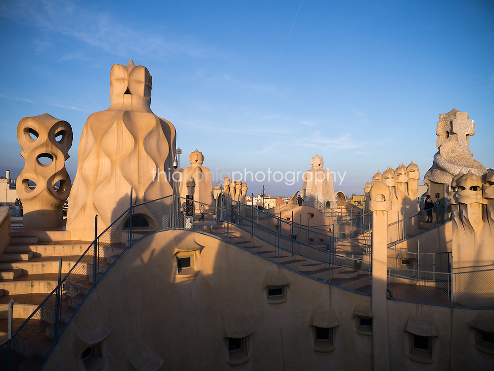 Evening light on the rooftop of Casa Mila (La Padrera) in Barcelona, Spain. Gaudi designed this apartment building over 100 years ago.