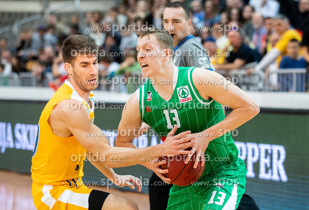 Alen Hodzic of Sixt Primorska vs Miha Lapornik of Petrol Olimpija during basketball match between KK Sixt Primorska and KK Petrol Olimpija in semifinal of Spar Cup 2018/19, on February 16, 2019 in Arena Bonifika, Koper / Capodistria, Slovenia. Photo by Vid Ponikvar / Sportida