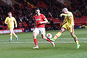 Milton Keynes Dons midfielder Samir Carruthers  has shot on goal during the Sky Bet Championship match between Charlton Athletic and Milton Keynes Dons at The Valley, London, England on 8 March 2016. Photo by Martin Cole.