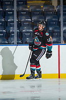 KELOWNA, CANADA - SEPTEMBER 5: Erik Gardiner #12 of the Kelowna Rockets skates against the Kamloops Blazers on September 5, 2017 at Prospera Place in Kelowna, British Columbia, Canada.  (Photo by Marissa Baecker/Shoot the Breeze)  *** Local Caption ***