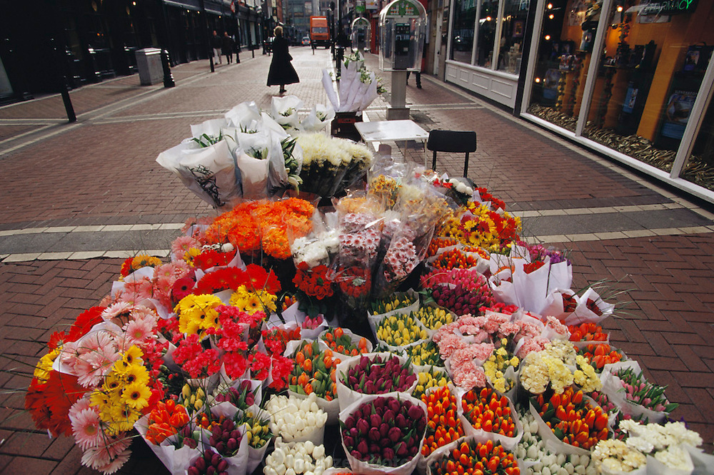 Flowers for sale outside Brawn's florist shop on Grafton Street Dublin, Ireland.