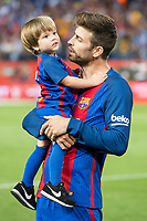 FC Barcelona's defender Gerard Pique with his son during Copa del Rey (King's Cup) Final between Deportivo Alaves and FC Barcelona at Vicente Calderon Stadium in Madrid, May 27, 2017. Spain.<br /> (ALTERPHOTOS/BorjaB.Hojas)