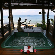 A jacuzzi platform is prepared at the Victoria's beachside spa.