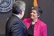 12 JANUARY 2009 -- PHOENIX, AZ: Gov Janet Napolitano greets Pat Stoner, (CQ), VP of Sales for flypaper (CQ LOWER CASE) LEFT, who was worked with and supported the Governor since before she was governor during a reception in the Governor's office before she delivered her State of the State. Arizona Governor Janet Napolitano delivered her last State of the State Monday. She has been nominated to be Secretary of Homeland Security by US President-Elect Barack Obama is expected to be approved by the US Senate next week. She is expected to resign as Arizona Governor after she is approved by the Senate.  PHOTO BY JACK KURTZ