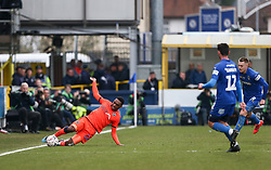 Mahlon Romeo of Millwall stretches to keep the ball in play - Mandatory by-line: Arron Gent/JMP - 16/02/2019 - FOOTBALL - Cherry Red Records Stadium - Kingston upon Thames, England - AFC Wimbledon v Millwall - Emirates FA Cup fifth round proper