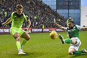 Lewis Stevenson blocks cross from James Forrest during the William Hill Scottish Cup quarter final match between Hibernian and Celtic at Easter Road, Edinburgh, Scotland on 2 March 2019.