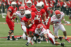 01 September 2012:  Marshaun Coprich makes yards through the middle during an NCAA football game between the Dayton Flyers and the Illinois State Redbirds at Hancock Stadium in Normal IL