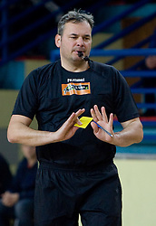 Referee Dusan Derzek at 1st MIK Handball League match between RD Merkur Skofja Loka and RK Celje Pivovarna Lasko, on February 6, 2010 in Arena Poden, Skofja Loka, Slovenia. The teams drew a tie 28:28. (Photo by Vid Ponikvar / Sportida)