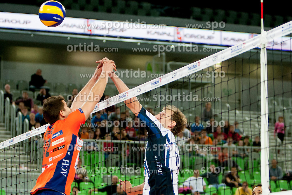 Gregor Ropret #12 of ACH Volley during volleyball match between ACH Volley (SLO) and Tours VB (FRA) in 3rd Round of CEV Champions League on November 5, 2013 in Arena Stozice, Ljubljana, Slovenia. (Photo by Urban Urbanc / Sportida)