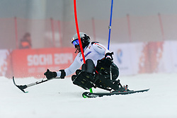 Taiki MORII competing in the Alpine Skiing Super Combined Slalom at the 2014 Sochi Winter Paralympic Games, Russia