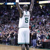 04 March 2012: Boston Celtics power forward Kevin Garnett (5) celebrates during the Boston Celtics 115-111 (OT) victory over the New York Knicks at the TD Garden, Boston, Massachusetts, USA.