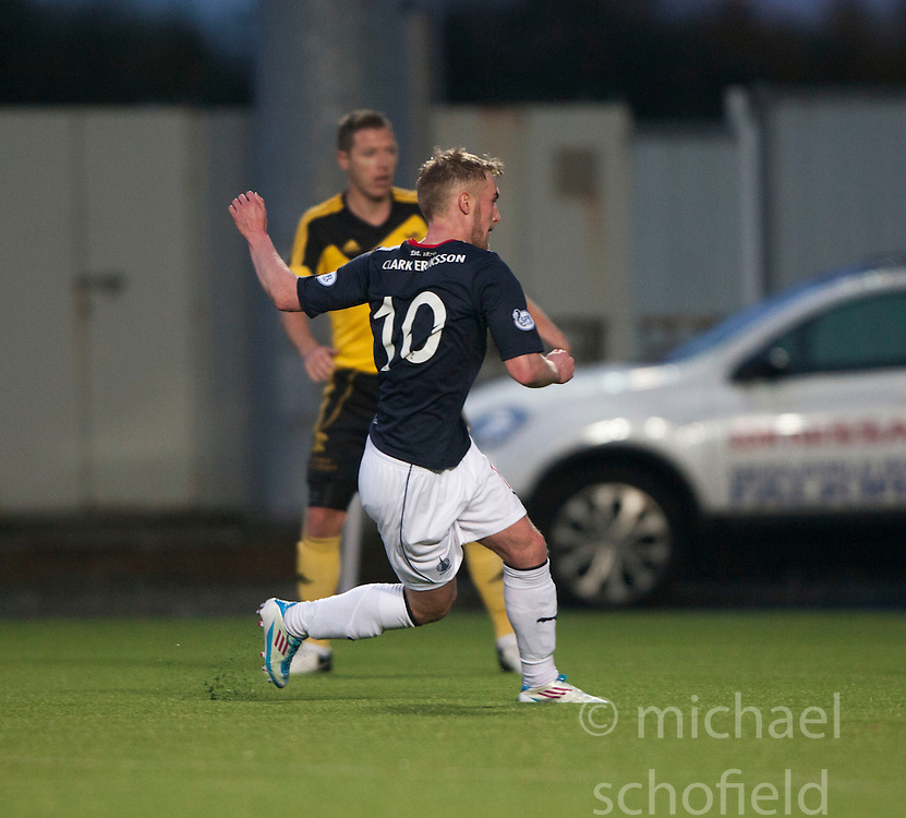 Falkirk's Craig Sibbald scoring their third goal.<br /> Falkirk 4 v 1 Livingston, Scottish Championship game played today at the Falkirk Stadium.<br /> &copy;Michael Schofield.
