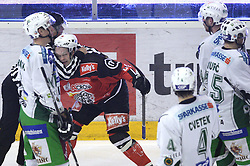 Andrej Hebar of Jesenice arguing with Andrej Tavzelj (44) of Olimpija at 2nd final match of Slovenian National Championships  between HK Acroni Jesenice and HDD Tilia Olimpija, on March 17, 2009, in Podmezaklja, Jesenice, Slovenia. Acroni Jesenice won after free shots 2:1 and are leading 2:0. They need to win 2-times more. (Photo by Vid Ponikvar / Sportida)