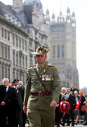© Licensed to London News Pictures 25/04/2013.An ANZAC soldier marches through Whitehall, towards the Cenotaph where wreaths were laid to mark ANZAC Day..London, UK.Photo credit: Anna Branthwaite/LNP