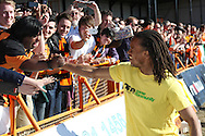 Picture by David Horn/Focus Images Ltd +44 7545 970036.20/04/2013.Edgar Davids , player/manager of Barnet with fans after the npower League 2 match at Underhill Stadium, London.
