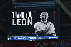 A billboard message thanking<br /> Leon Britton of Swansea City for his services to the club-Mandatory by-line: Nizaam Jones/JMP- 13/05/2018 - FOOTBALL - Liberty Stadium - Swansea, Wales - Swansea City v Stoke City - Premier League