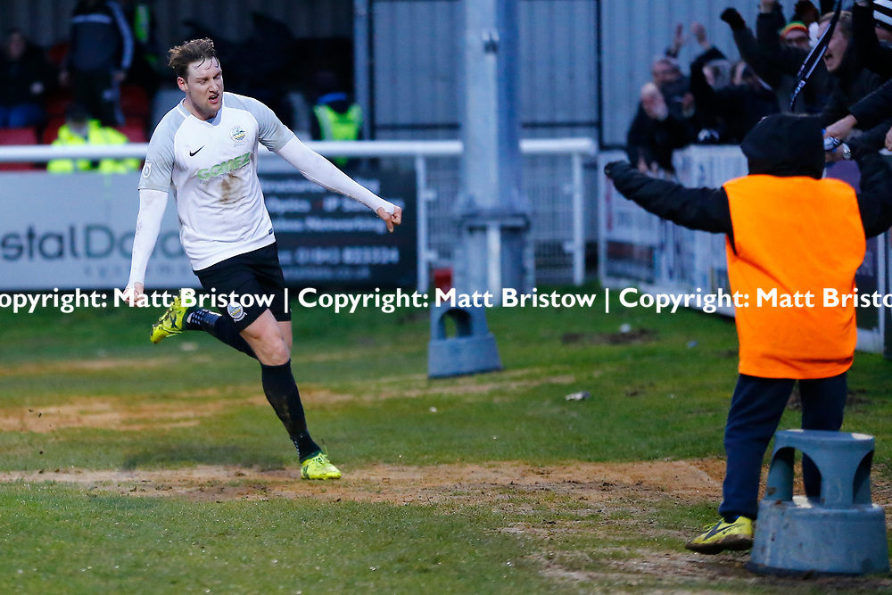 Dover's forward Ryan Bird celebrates pulling the scores level during the The FA Trophy match between Dover Athletic and Leyton Orient at Crabble Stadium, Kent on 3 February 2018. Photo by Matt Bristow.