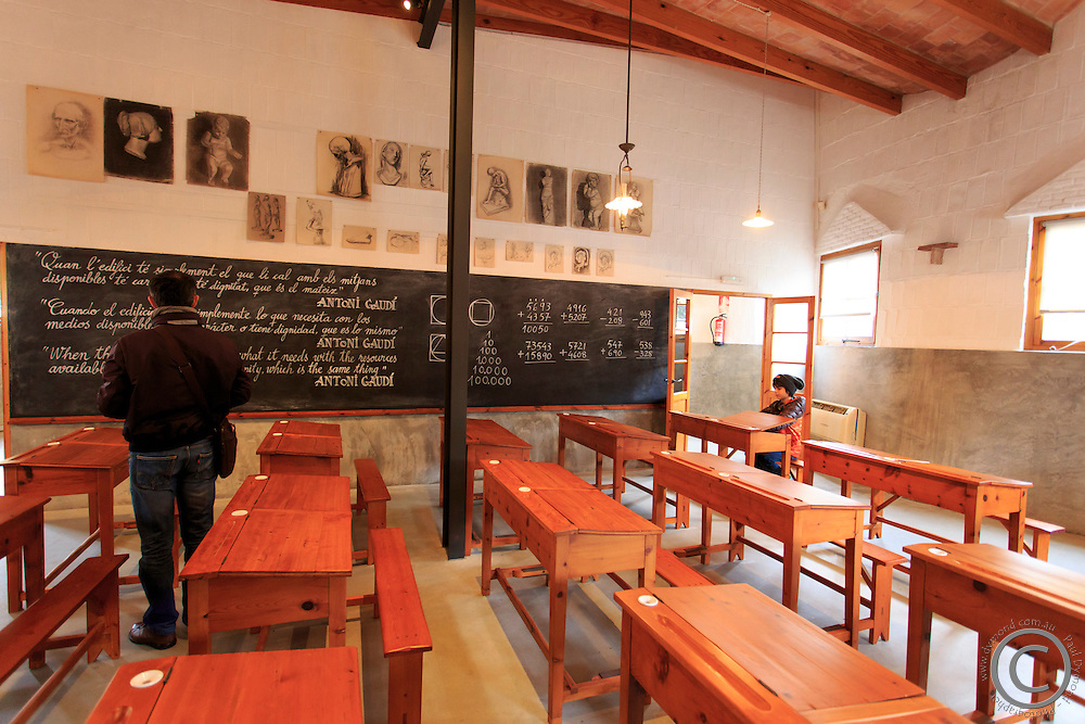 A recreation of the type of classroom Antoni Gaudi would have studied in at school, in the grounds of the Sagrada Familia in central Barcelona, Spain