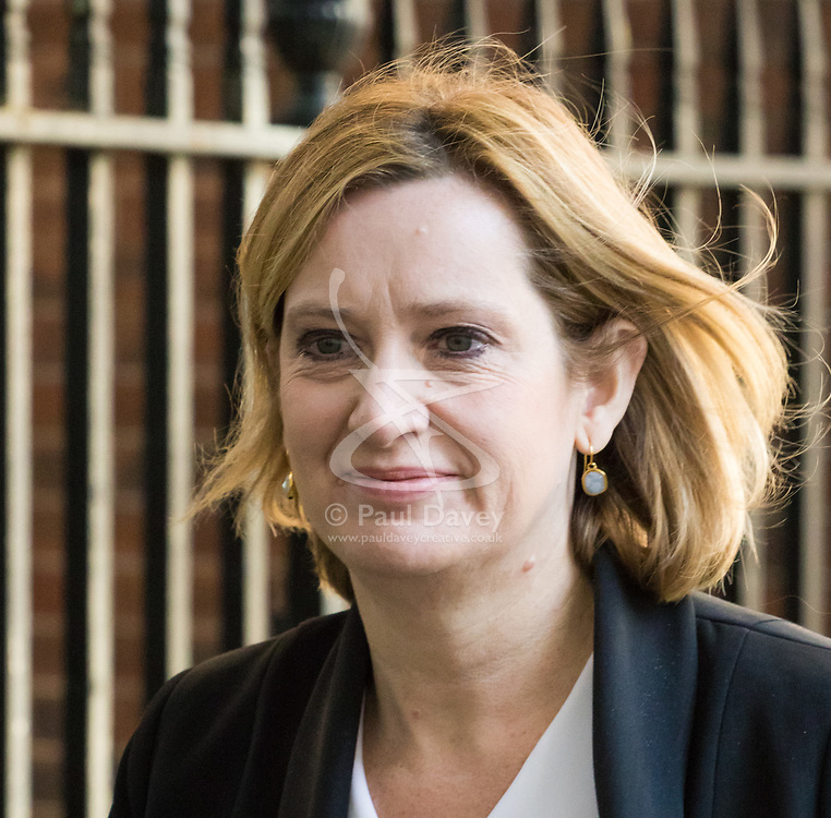 Downing Street, London, April 25th 2017. Home Secretary Amber Rudd leaves the weekly cabinet meeting at 10 Downing Street in London. Credit: ©Paul Davey