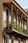 Balcony of french influenced architecture wooden house. Old Quarters, San Felipe, Panama City, Panama, Central America.