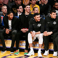 25 December 2017: Los Angeles Lakers forward Julius Randle (30), Los Angeles Lakers forward Brandon Ingram (14), Los Angeles Lakers guard Lonzo Ball (2), Los Angeles Lakers forward Larry Nance Jr. (7), Los Angeles Lakers center Ivica Zubac (40) and Los Angeles Lakers guard Tyler Ennis (10) are seen on the bench during the Minnesota Timberwolves 121-104 victory over the LA Lakers, at the Staples Center, Los Angeles, California, USA.