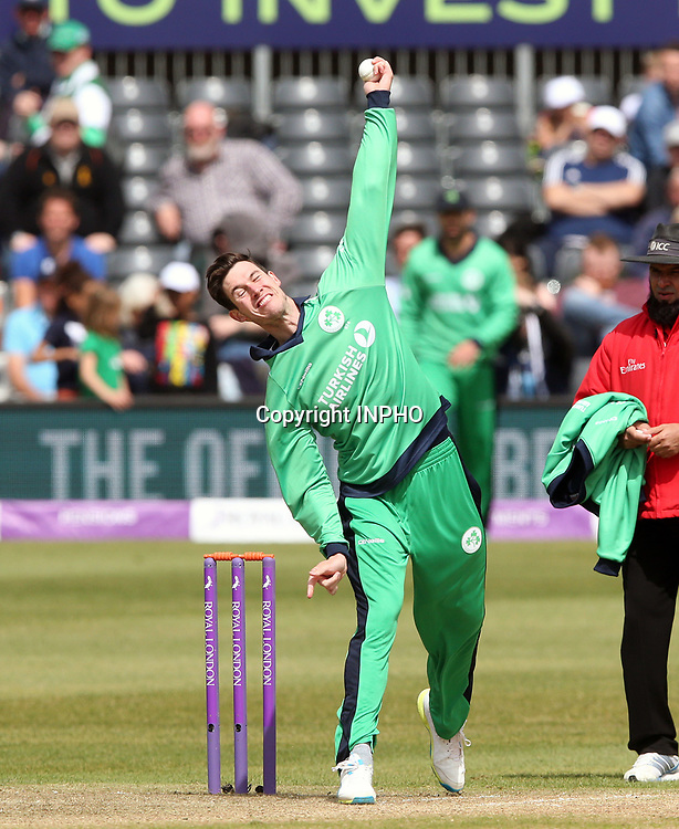 1st One Day International, Bristol Cricket Ground, England 5/5/2017<br /> England vs Ireland<br /> Ireland's George Dockrell bowls<br /> Mandatory Credit &copy;INPHO/Andrew Fosker