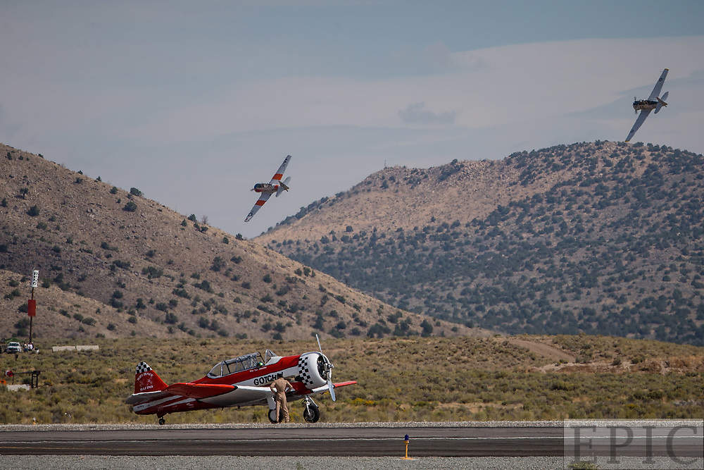 RENO, NV - SEPTEMBER 14: Pilot Peter Stavrides waits by his plane after having engine trouble during a T-6 heat at the Reno Championship Air Races on September 14, 2017 in Reno, Nevada. (Photo by Jonathan Devich/Getty Images) *** Local Caption *** Peter Stavrides