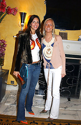 LEFT TO RIGHT, MISS GABBY HARRIS and MISS MARTHA WARD at a party to celebrate the launch of Michelle Watches held at the Blue Bar, The Berkeley Hotel, London on 7th October 2004.<br />