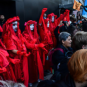 XR Fashion Boycott: RIP London Fashion Week Funeral March demand to end London Fashion Week at 180 the Strand, on 17 September 2019, London, UK.