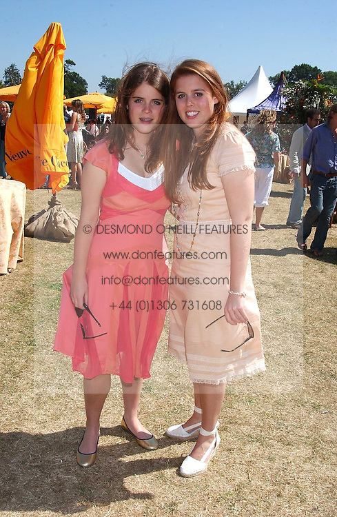 Left to right, PRINCESS EUGENIE OF YORK and PRINCESS BEATRICE OF YORK at the Veuve Clicquot sponsored Gold Cup Final or the British Open Polo Championship held at Cowdray Park, West Sussex on 17th July 2005.<br />