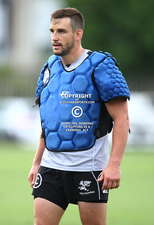 DURBAN, SOUTH AFRICA, 22,MARCH, 2016 - Keegan Daniel during The Cell C Sharks training session  at Growthpoint Kings Park in Durban, South Africa. (Photo by Steve Haag)<br /> <br /> images for social media must have consent from Steve Haag
