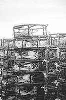 Dungeness crab pots stacked on dock. Eureka, CA.