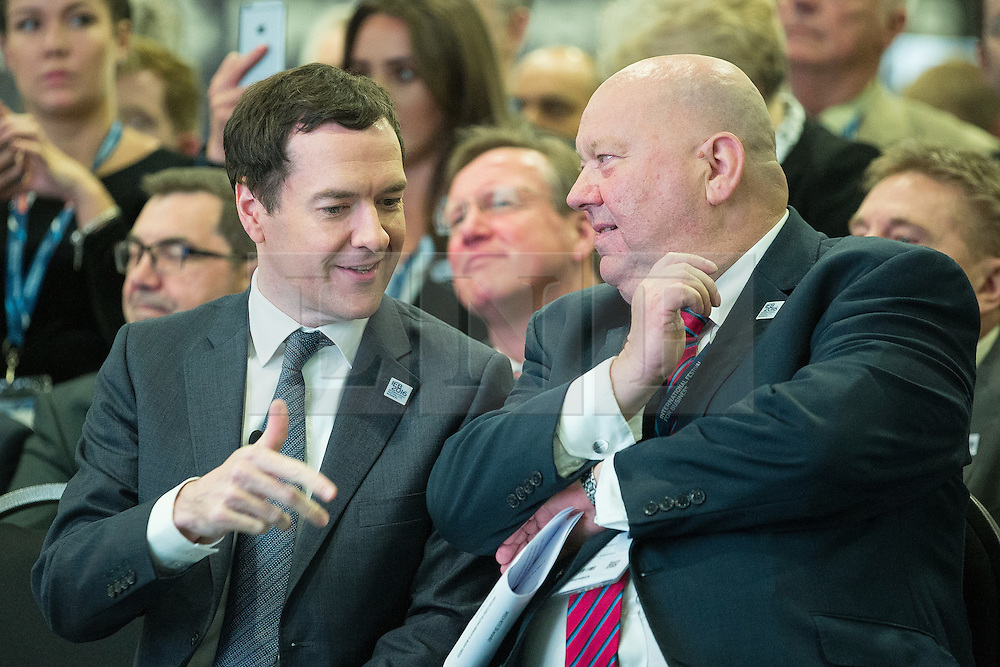 © Licensed to London News Pictures . 13/06/2016 . Liverpool , UK . Chancellor of the Exchequer , GEORGE OSBORNE talks to Mayor of Liverpool JOE ANDERSON at the International Festival for Business at the Liverpool Exhibition Centre . Photo credit: Joel Goodman/LNP