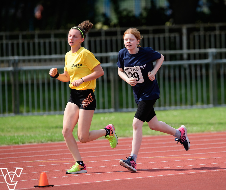 Metro Blind Sport's 2017 Athletics Open held at Mile End Stadium.  800m  Chelsea Hudson with guide runner<br /> <br /> Picture: Chris Vaughan Photography for Metro Blind Sport<br /> Date: June 17, 2017