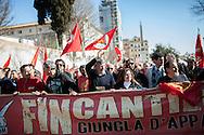 28 Marzo 2015, Roma, Italia. Manifestaione Fiom-Cgil, Unions. Maurizio Landini segretario generale della FIOM-CGIL in testa al corteo con gli ooperai della Fincantieri.