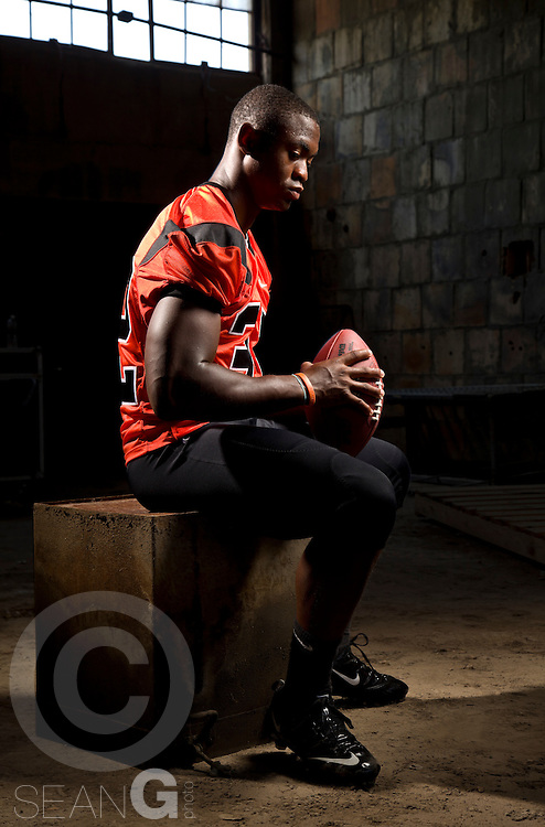 Johnathan (cq) Gray (#32) of Aledo, Texas High School, committed to Texas poses for a portrait at the Stockyards in Fort Worth, Texas, Thursday, June 16, 2011. (PHOTO BY SEAN GALLAGHER)