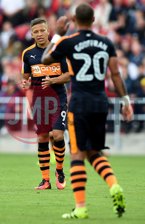 Dwight Gayle of Newcastle United speaks with Yoan Gouffran of Newcastle United  - Mandatory by-line: Joe Meredith/JMP - 20/08/2016 - FOOTBALL - Ashton Gate - Bristol, England - Bristol City v Newcastle United - Sky Bet Championship