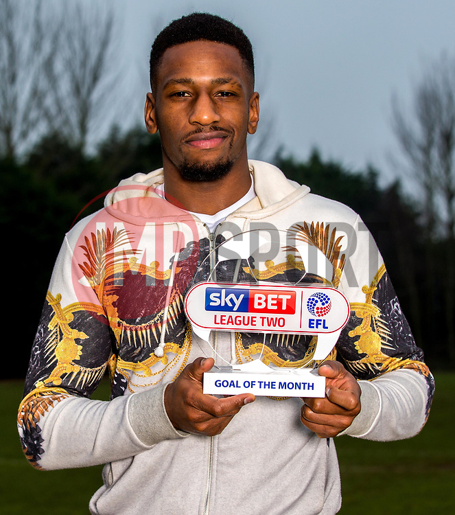 Omar Bogle of Grimsby Town is presented with the Sky Bet League Two Goal of the Month award - Mandatory by-line: Robbie Stephenson/JMP - 15/12/2016 - FOOTBALL - Cheapside Training Ground - Grimsby, England - Sky Bet League Two Goal of the Month - November