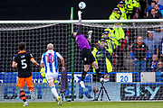 Sheffield Wednesday goalkeeper Keiren Westwood (1) tips the ball over the bar during the EFL Sky Bet Championship play off first leg match between Huddersfield Town and Sheffield Wednesday at the John Smiths Stadium, Huddersfield, England on 14 May 2017. Photo by Simon Davies.