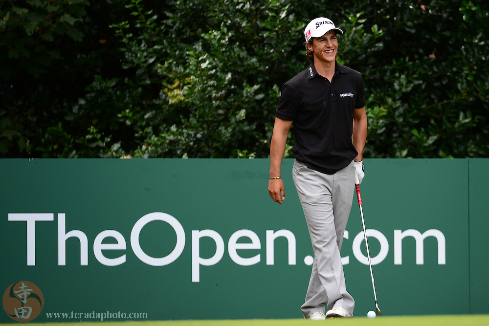 July 21, 2012; St. Annes, ENGLAND; Thorbjorn Olesen smiles on the 1st hole during the third round of the 2012 British Open Championship at Royal Lytham & St. Annes Golf Club.