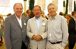 Left to right, newsreaders PETER SISSONS,  MICHAEL BUERK and NICHOLAS OWEN at the 2005 Cartier International Polo between England & Australia held at Guards Polo Club, Smith's Lawn, Windsor Great Park, Berkshire on 24th July 2005.<br /><br />NON EXCLUSIVE - WORLD RIGHTS