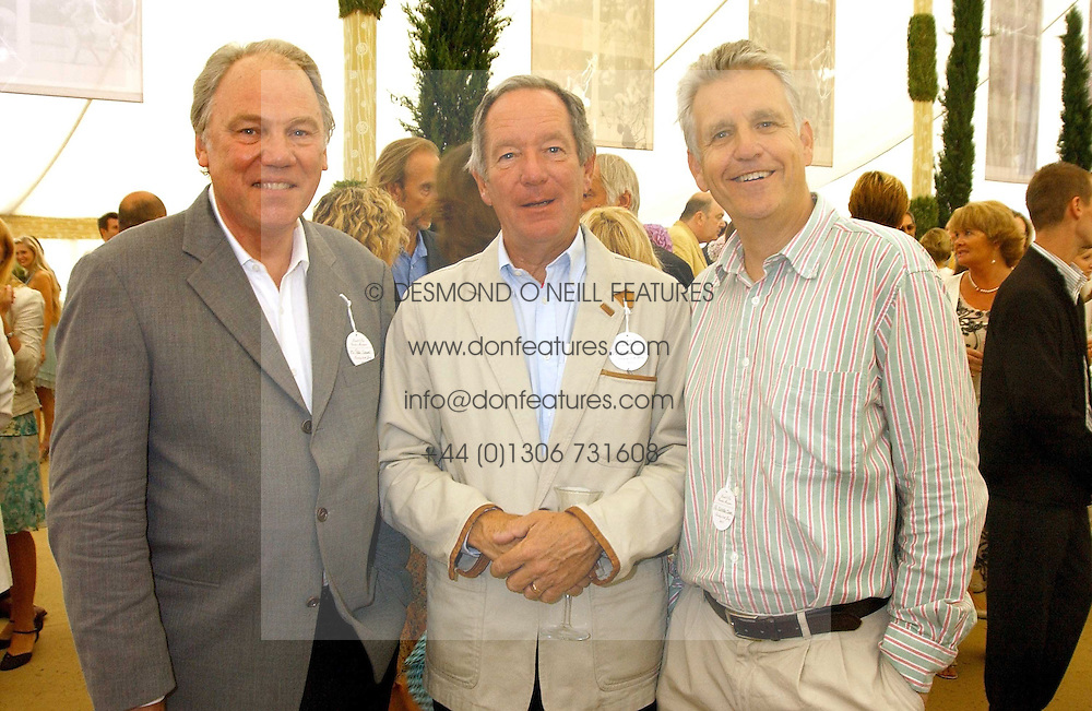 Left to right, newsreaders PETER SISSONS,  MICHAEL BUERK and NICHOLAS OWEN at the 2005 Cartier International Polo between England &amp; Australia held at Guards Polo Club, Smith's Lawn, Windsor Great Park, Berkshire on 24th July 2005.<br />
