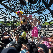 """May 17, 2013 - Queens, NY :  Festivalgoers take a break in the """"Braindrop,"""" a sculpture by Kate Raudenbush (not pictured), during the first day of the 2013 New York 'Electric Daisy Carnival,' an electronic dance music festival, at Citi Field in Queens, on Friday. CREDIT: Karsten Moran for The New York Times CREDIT: Karsten Moran for The New York Times"""