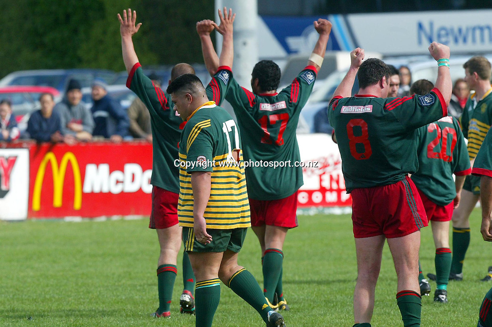 Wairarapa Bush's captain Mike Robinson (R) celebrate their 16-09 win over Canterbury during the NPC Rugby Div 3 Semi final in Masterton, New Zealand. 09 October 2004.<br /> Photo: Marty Melville/Photosport